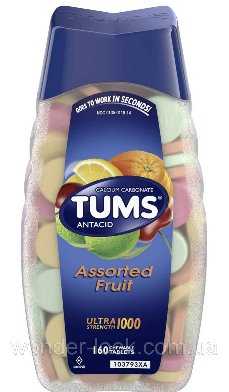 TUMS Antacid Chewable Tablets for Heartburn Relief, Extra Strength, Assorted Fruit, 160 шт таблетки от изжоги