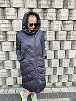 Женская куртка пуховик пальто батал большого размера длинная тёплая с капюшоном без меха