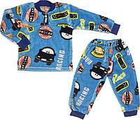 Детская тёплая пижама рост 110 4 года-5 лет махровая голубая на мальчика для детей М841