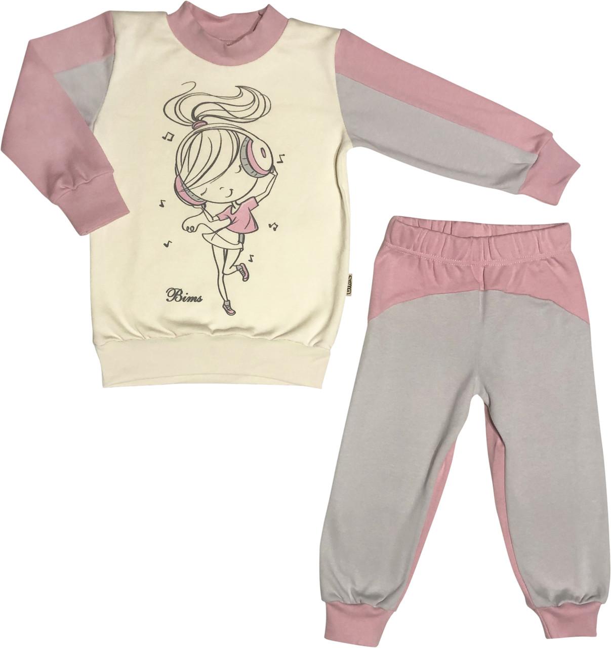 Дитяча піжама з начосом ріст 104 3-4 роки інтерлок рожевий на дівчинку для дітей Д-886
