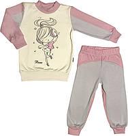 Детская тёплая пижама с начёсом рост 104 3-4 года трикотажная интерлок розовая на девочку для детей Д886