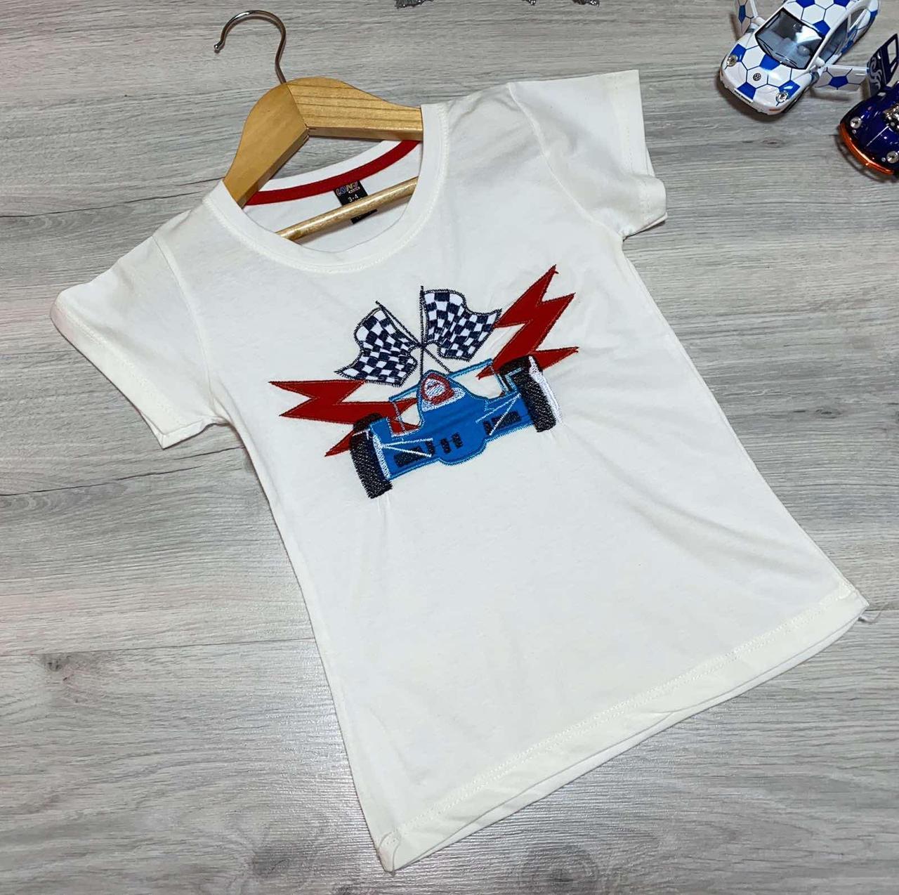 """Дитяча трикотажна футболка """"Гонка"""" для хлопчиків (1-8 років) (4 од в уп. ), Білий"""