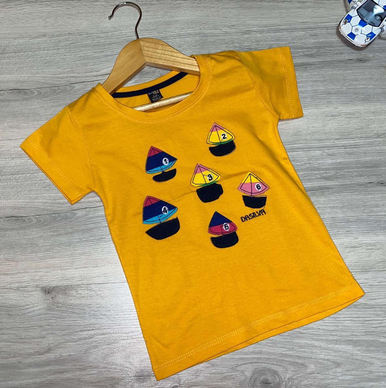 """Дитяча трикотажна футболка """"Кораблик"""" для хлопчиків (1-8 років) (4 од в уп. )"""