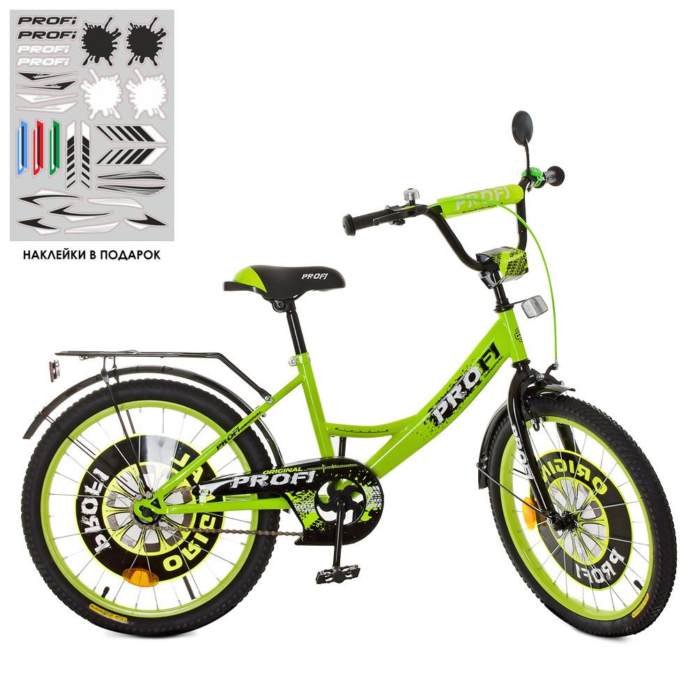 Велосипед детский PROF1 20д. XD2042 Original boy,салатово-черный