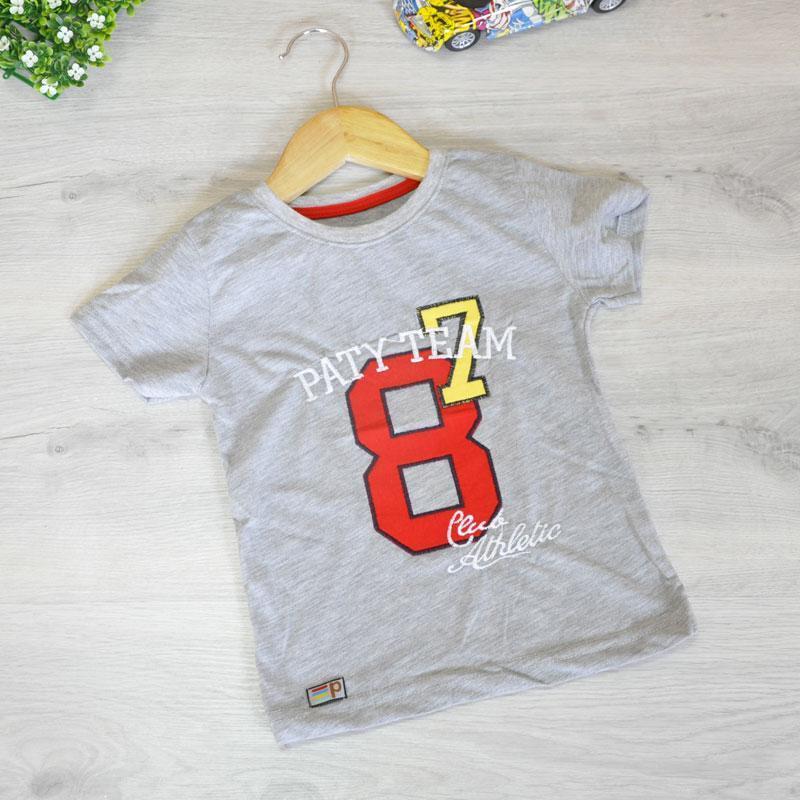 """Детская футболка """"Paty Team"""" , из трикотажа , для мальчиков (рост 86-134 см), Серый"""