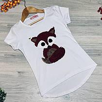 """Дитяча футболка """"Лисичка"""" (паєтки перевертыши) , для дівчаток від 7-11 років (5 од. уп. )"""