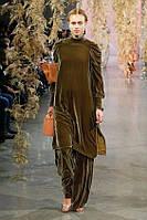 Оригинальный велюровый костюм оверсайз туника и юбка-брюки или бананы. Размер 42-74+ батал, фото 1