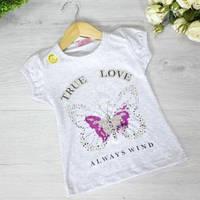 Детская футболка из трикотажа, для девочек 5-8 лет (4 ед. в уп), Серый