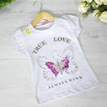 Дитяча футболка з трикотажу, для дівчаток 5-8 років (4 од. уп), Сірий