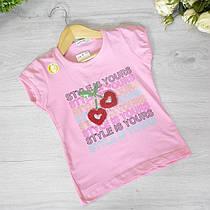 Детская футболка из трикотажа, для девочек 9-12 лет (4 ед. в уп), Розовый