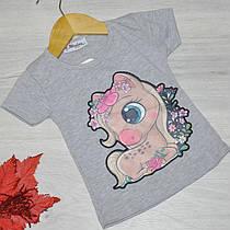 Дитяча футболка, трикотаж, для дівчаток 1-4 роки (4 од. уп), Сірий