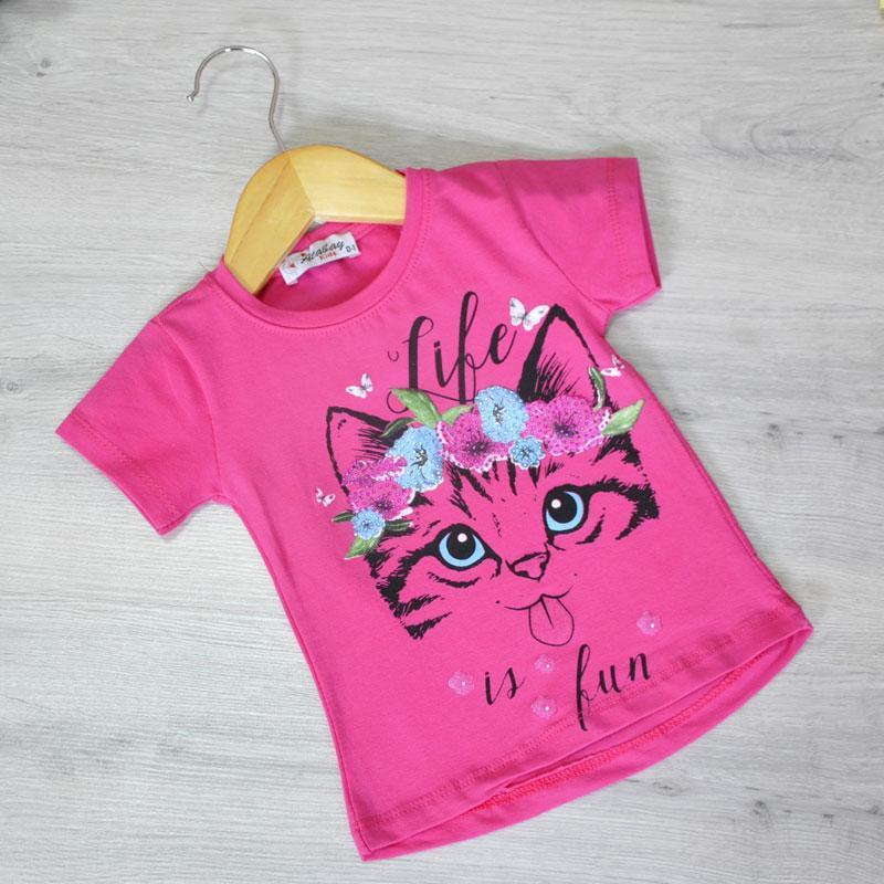 Дитяча футболка, трикотаж, для дівчаток 1-4 роки (4 од. уп), Малина