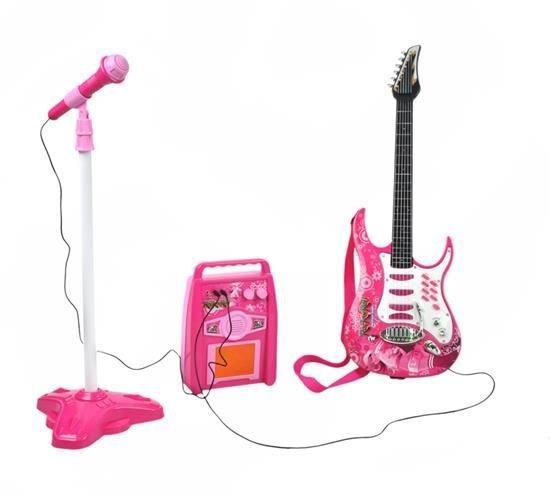 Комплект детской електро гитары + микрофон + усилитель G 4709