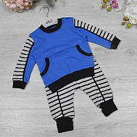 Детский трикотажный костюм (батник+штанишки), размер:3-6-9 мес (3 ед в уп), Синий