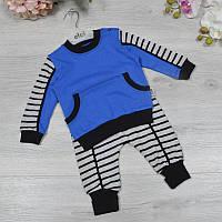 Дитячий трикотажний костюм (батник+штанці), розмір:3-6-9 міс (3 од в уп), Синій