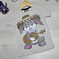 Детская футболка, трикотаж, для мальчика 1-4 лет (4 ед. в уп), Серый