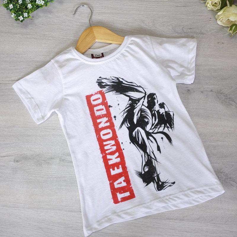 Детская футболка, трикотаж, для мальчика 5-8 лет (4 ед. в уп), Белый