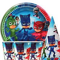 Набор одноразовой посуды для детского праздника Герои в масках 10 тарелок , 10 стаканчиков , 10 колпачков