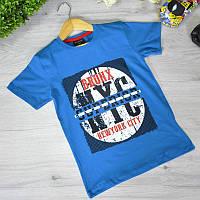 Детская футболка, трикотаж, для мальчика 9-12 лет (4 ед. в уп), Синий
