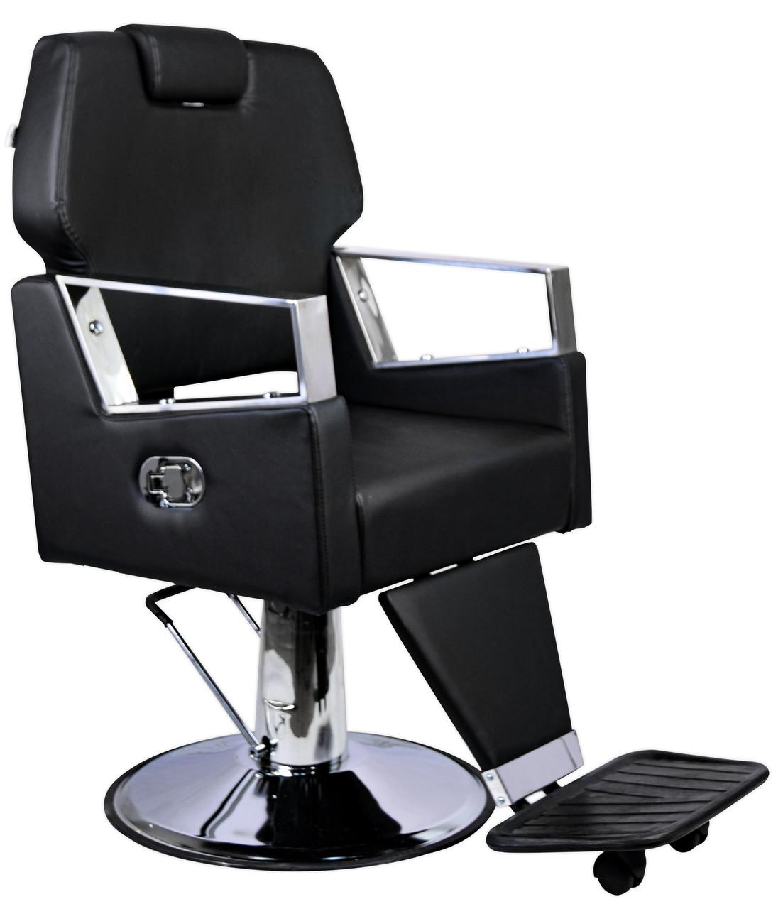 Парикмахерский стул барбершопера с эко кожи Barber King черное TOMAS PREMIUM