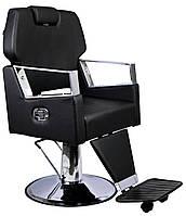Парикмахерский стул барбершопера с эко кожи Barber King черное TOMAS PREMIUM, фото 1