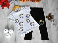 """Летний костюм """"Кити"""" (футболка и лосины), трикотаж, для девочек 1-8 лет (86-128 см) (4 ед в уп)"""