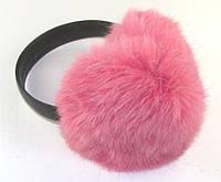 Наушники из натурального меха кролика розовые