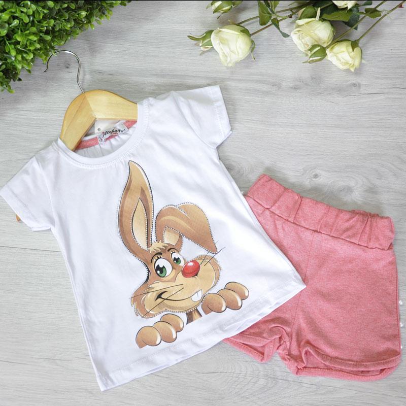 Летний костюм (футболка и шорты), трикотаж, для девочек 5-8 лет (4 ед в уп), Красный