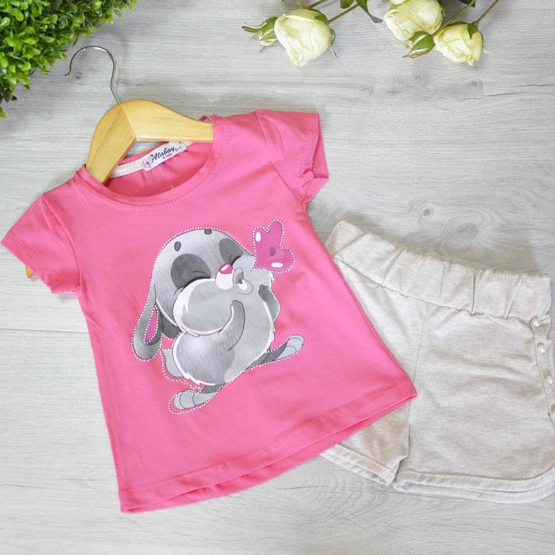 Летний костюм (футболка и шорты), трикотаж, для девочек 5-8 лет (4 ед в уп)