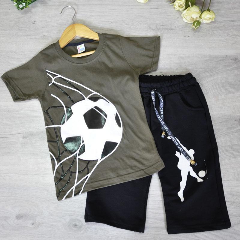 Летний легкий костюм (футболка, шорты), для мальчика (5-8 лет)(4 шт. в уп. )