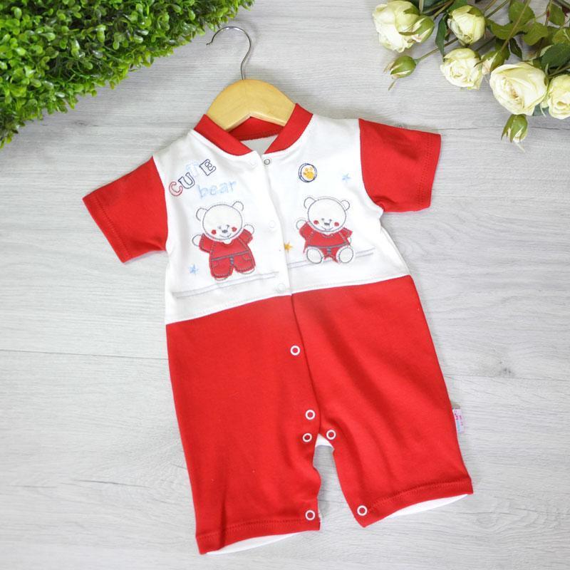 """Річний трикотажний бодік-""""чоловічок"""" , для діток 3-6-9 місяців ( 3 од. уп. ), Червоний"""