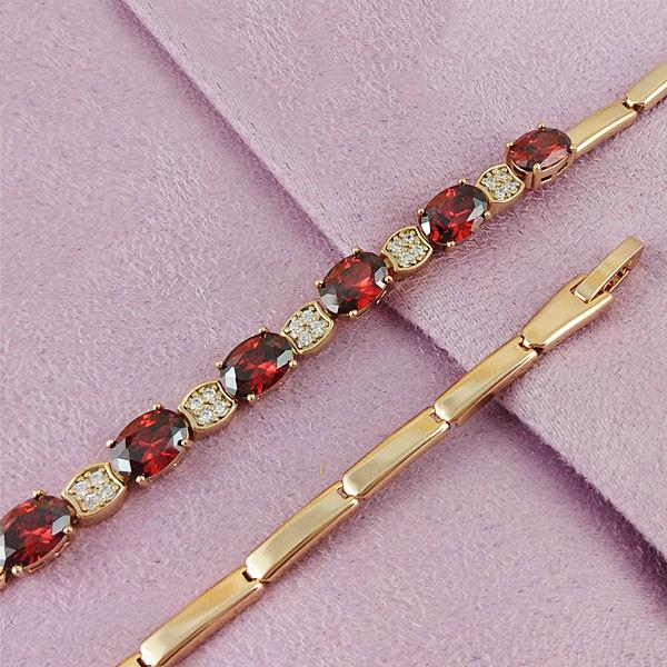 Браслет Xuping Jewelry 17,5/19 см Красный медицинское золото позолота 18К А/В 4-0086