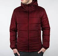 Теплая куртка зимняя со съемным капюшоном мужская бордовая, Мужские куртки зимние АСОС бордовая, черная, синяя