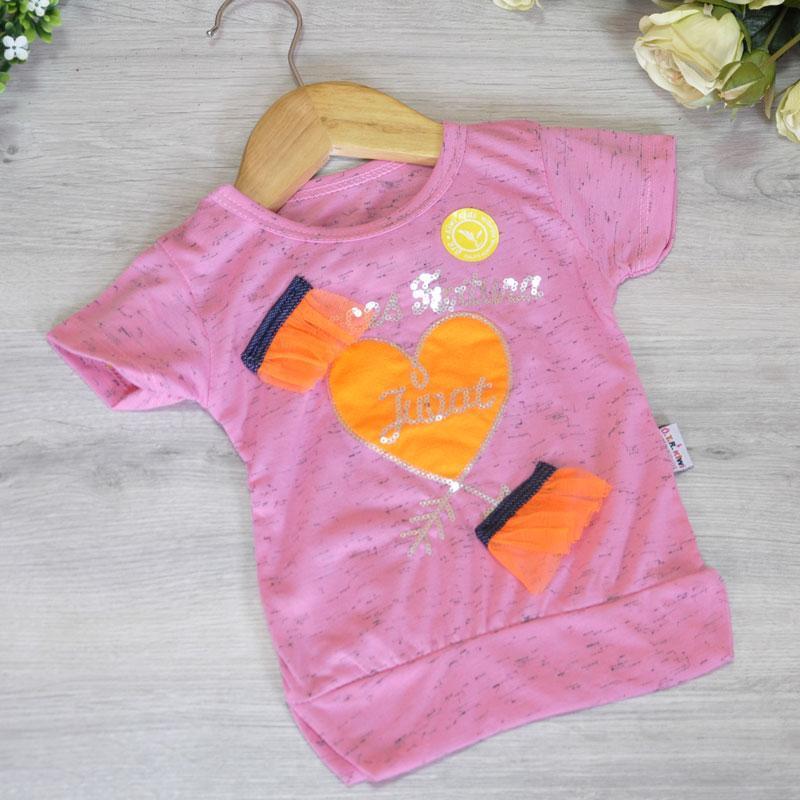 Летняя трикотажная футболка (100% cotton), для девочек 1-4 года (4 ед. в уп. ), Розовый
