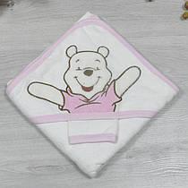 Полотенце с капюшоном для купания и варежка, махра, размер 90х90 см (мин заказ 1 ед), Розовый