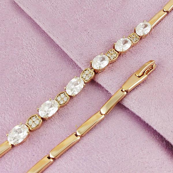 Браслет Xuping Jewelry 17,5/19 см Белый медицинское золото позолота 18К А/В 4-0087