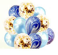 Набор (фонтан) шаров с конфетти 12 шт СИНИЙ АГАТ Китай