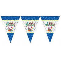 "Бумажные флажки гирлянды "" З ДНЕМ НАРОДЖЕННЯ "" ( синяя) 3.5 м ( 8 шт )на атласной ленте"
