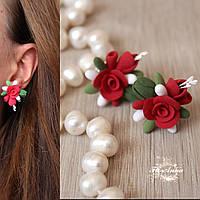 """Серьги гвоздики """"Красные розы с бутонами"""", фото 1"""