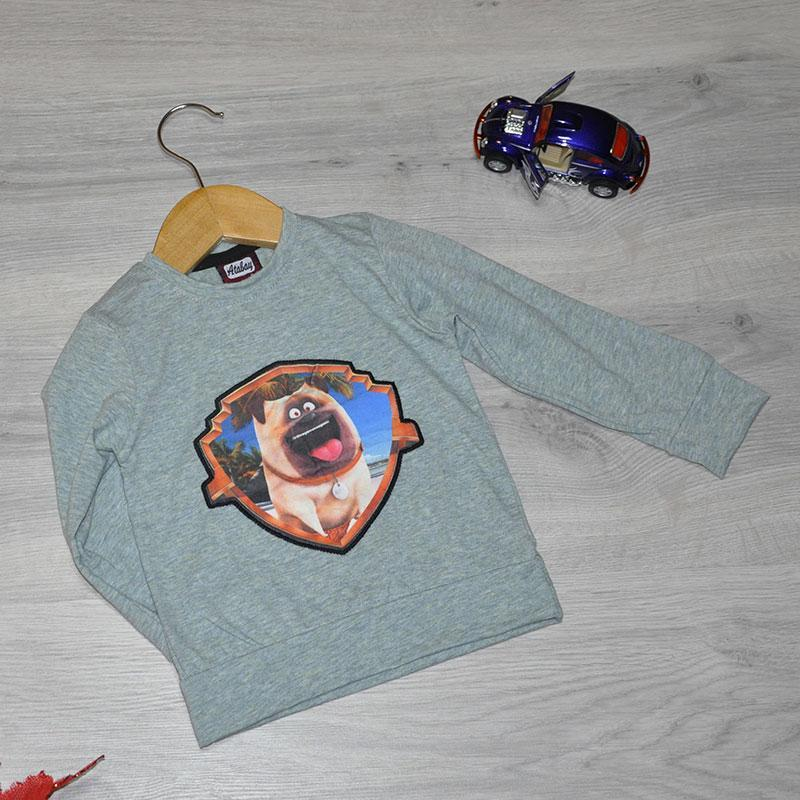 Детский батник , трикотаж, для мальчика размер 1-4 года (4 ед в уп), Серый
