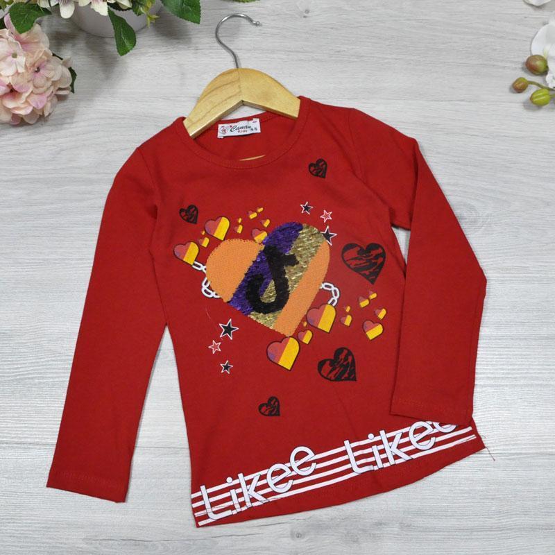 Детский батник из трикотажа, для девочек 5-8 лет (4 ед в уп), Красный