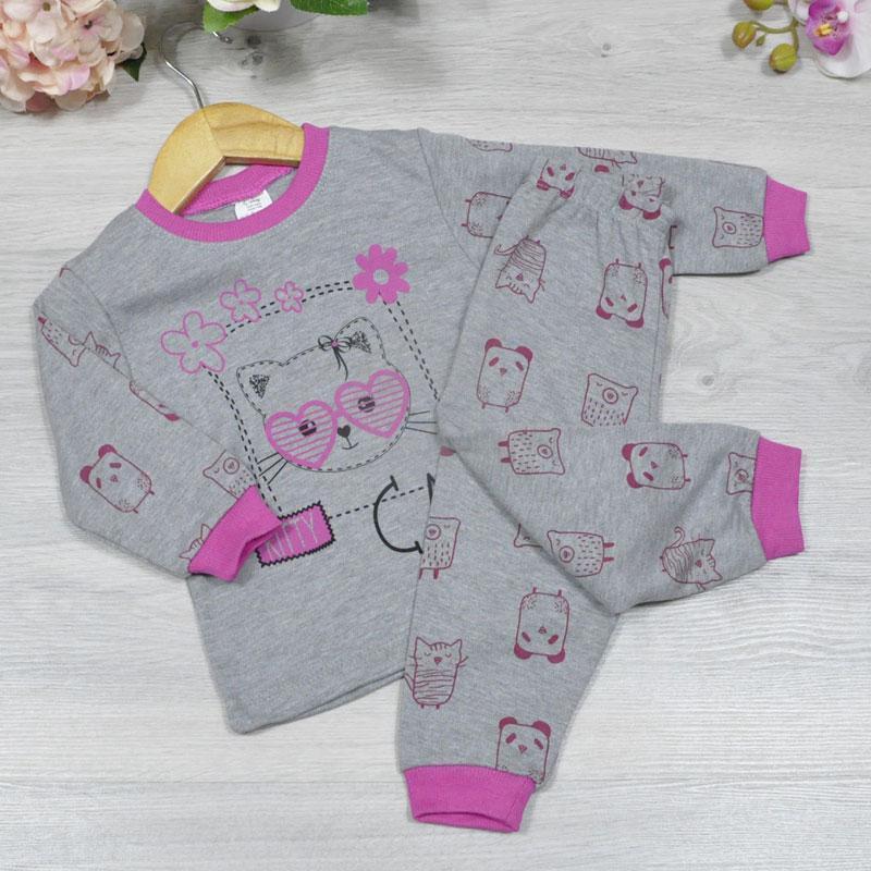 Пижама (90% cotton, 10% micropoly), размер 1-3 года (3 ед в уп), Серый