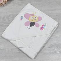 Полотенце с капюшоном для купания , махра, размер 90х80 см (мин заказ 1 ед), Розовый