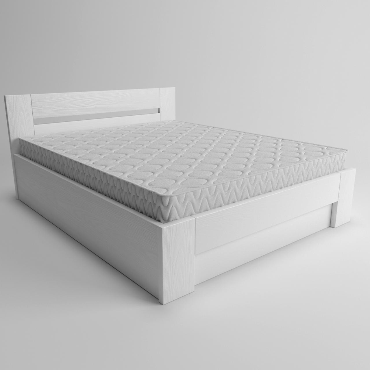 Ліжко дерев'яне двоспальне Лондон з підйомним механізмом (масив ясена)