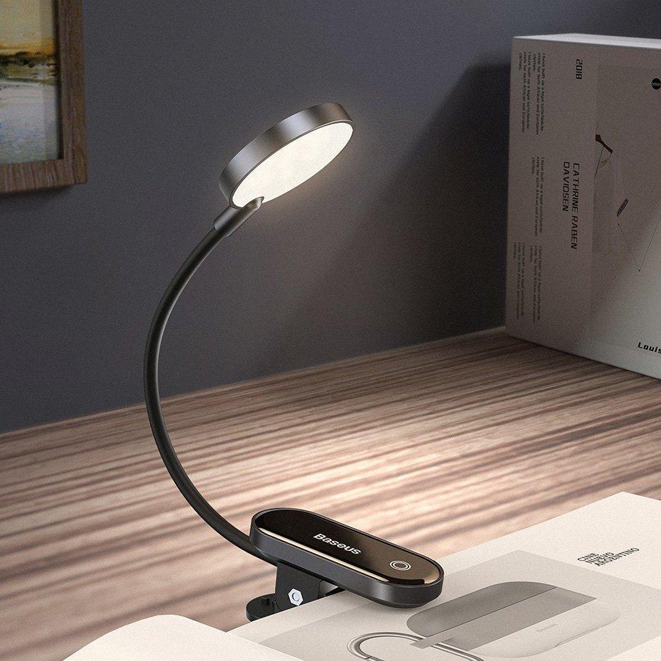 Универсальная аккумуляторная LED лампа на клипсе Baseus Comfort Riading Mini Clip Lamp (DGRAD-0G)