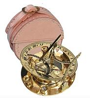 Солнечные часы с Компасом Бронзовые в Кожаном Чехле, фото 1