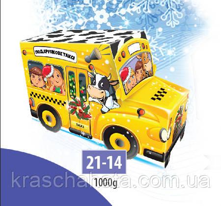 Новогодняя коробка, Новогодний автобус, 1000 гр, Картонная упаковка для конфет