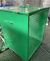 Металлический евроконтейнер с крышкой (по 2 сторонам оснащен сеткой) 0,75м3