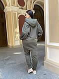 Батник теплая кофта женская оверсайз ткань трехнить с начесом размер: 50-52,54-56, фото 4