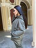 Батник теплая кофта женская оверсайз ткань трехнить с начесом размер: 50-52,54-56, фото 7